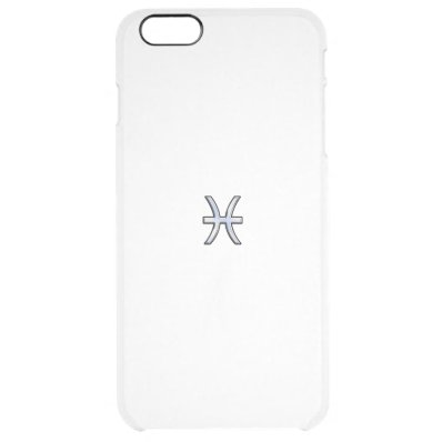 Chrome Style Pisces Zodiac Symbol on Hevelius Clear iPhone 6 Plus Case