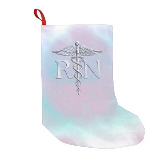 Chrome Style RN Caduceus Medical Mother Pearl Look Small Christmas Stocking