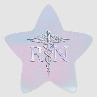 Chrome Style RN Caduceus Medical Mother Pearl Look Star Sticker