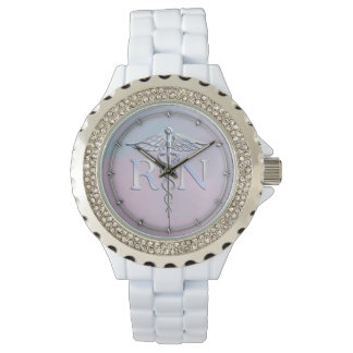 Chrome Style RN Caduceus Medical Mother Pearl Look Wristwatch