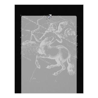 Chrome Style Sagittarius Zodiac Sign on Hevelius Letterhead