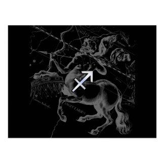Chrome Style Sagittarius Zodiac Sign on Hevelius Postcard
