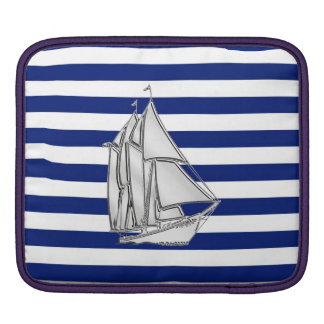 Chrome Style Sailboat on Nautical Stripes Sleeve For iPads