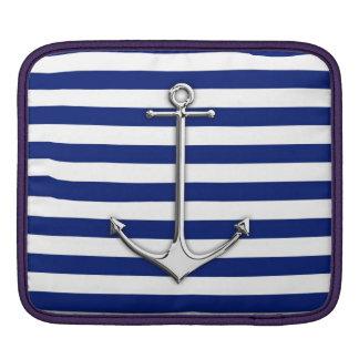 Chrome Style Thin Anchor on Navy Stripes Sleeve For iPads