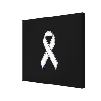 Chrome Style White Ribbon Awareness Canvas Print