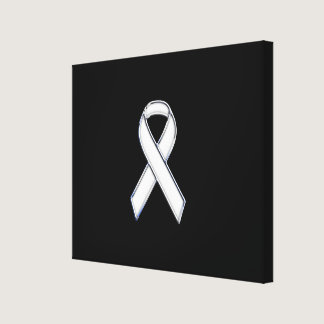 Chrome Style White Ribbon Awareness Canvas Print