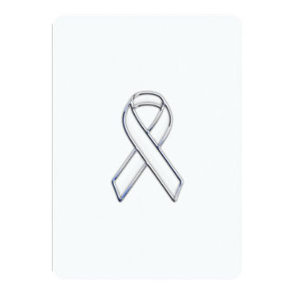Chrome Style White Ribbon Awareness Card