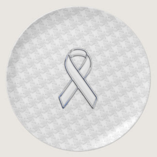 Chrome Style White Ribbon Awareness Houndstooth Dinner Plate