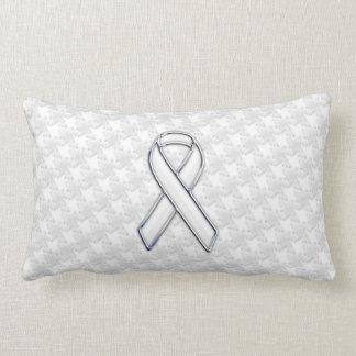 Chrome Style White Ribbon Awareness Houndstooth Throw Pillow