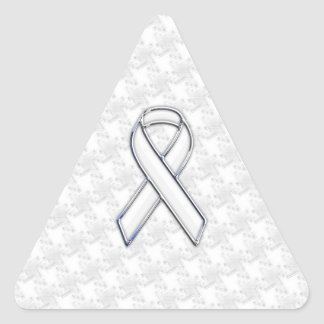 Chrome Style White Ribbon Awareness Houndstooth Triangle Sticker
