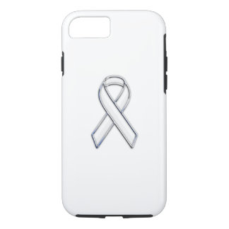 Chrome Style White Ribbon Awareness iPhone 7 Case