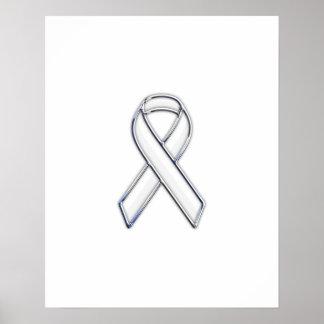 Chrome Style White Ribbon Awareness Poster