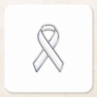 Chrome Style White Ribbon Awareness Square Paper Coaster