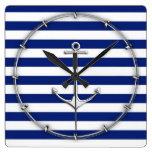 Chrome Thin Anchor on Nautical Stripes Square Wallclocks