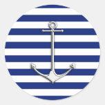 Chrome Thin Anchor on Nautical Stripes Stickers