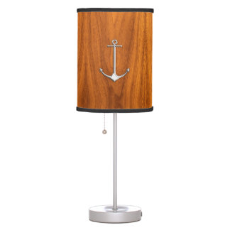 Chrome Thin Anchor on Teak Wood Desk Lamp