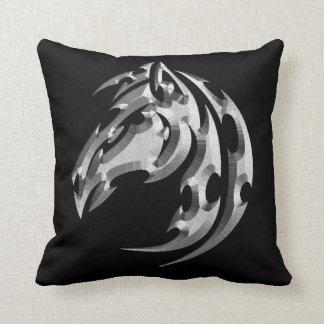 Chrome tribal horse head pillow