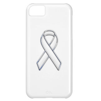 Chrome Trim Style White Ribbon Awareness iPhone 5C Cover