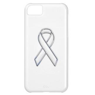 Chrome Trim Style White Ribbon Awareness iPhone 5C Cover