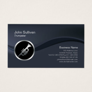 Chrome Trumpet Icon Trumpeter Business Card
