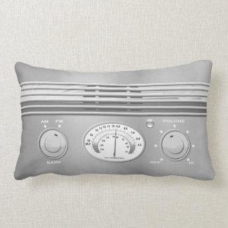 Chrome Vintage Radio Lumbar Pillow