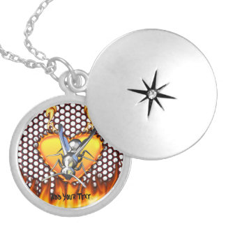 Chrome wasp (yellow jacket) design 2 with fire round locket necklace