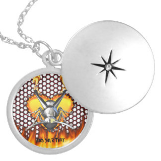 Chrome wasp (yellow jacket) design 3 with fire round locket necklace
