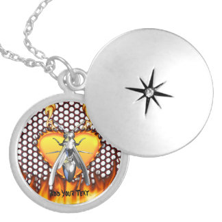 Chrome wasp (yellow jacket) design 4 with fire round locket necklace