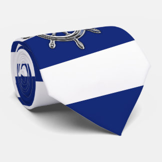 Chrome Wheel on Nautical navy blue Stripes Tie