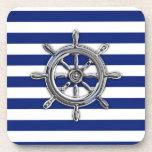 Chrome Wheel on Nautical Stripes Beverage Coaster