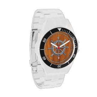 Chrome Wheel on Teak Veneer Wrist Watch