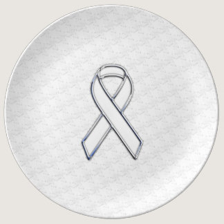 Chrome White on White Ribbon Awareness Houndstooth Dinner Plate