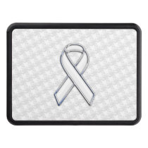 Chrome White on White Ribbon Awareness Houndstooth Tow Hitch Cover