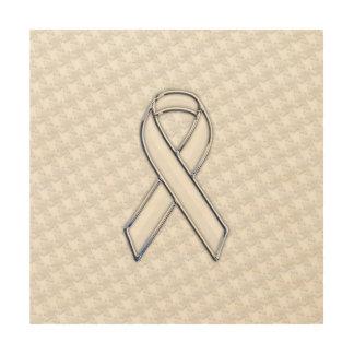 Chrome White on White Ribbon Awareness Houndstooth Wood Print