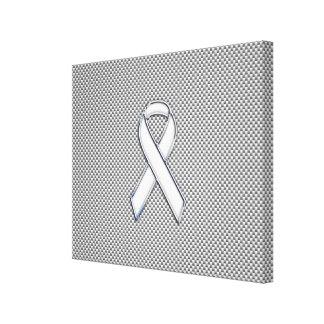 Chrome White Ribbon Awareness Carbon Fiber Print