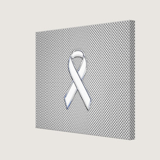 Chrome White Ribbon Awareness Carbon Fiber Print