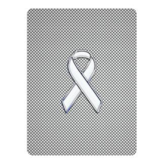 Chrome White Ribbon Awareness Carbon Fiber Print Card
