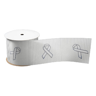 Chrome White Ribbon Awareness in Granular Stripes