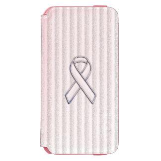 Chrome White Ribbon Awareness in Granular Stripes iPhone 6/6s Wallet Case