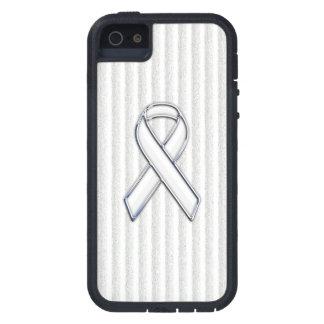 Chrome White Ribbon Awareness in Granular Stripes iPhone SE/5/5s Case