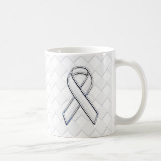 Chrome White Ribbon Awareness on Checkers Decor Coffee Mug