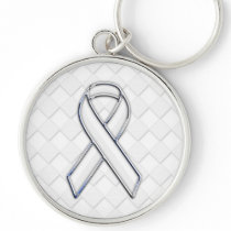 Chrome White Ribbon Awareness on Checkers Decor Keychain