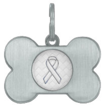 Chrome White Ribbon Awareness on Checkers Decor Pet ID Tag