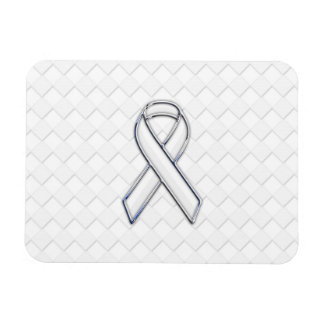 Chrome White Ribbon Awareness on Checkers Magnet