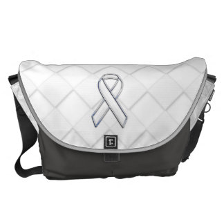 Chrome White Ribbon Awareness on Checkers Messenger Bag