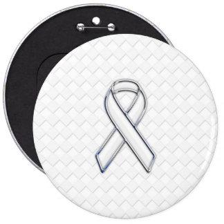 Chrome White Ribbon Awareness on Checkers Pinback Button