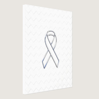 Chrome White Ribbon Awareness on Checkers Print