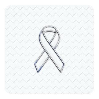 Chrome White Ribbon Awareness on Checkers Print Card