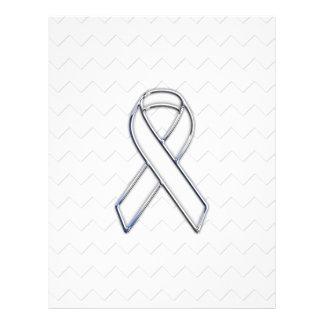 Chrome White Ribbon Awareness on Checkers Print Flyer