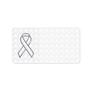 Chrome White Ribbon Awareness on Checkers Print Label